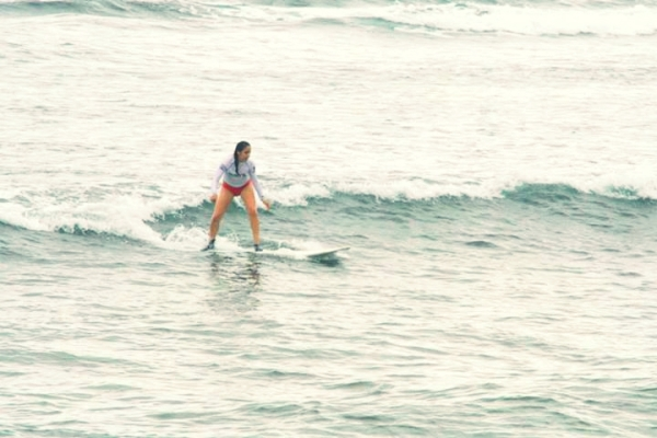 Vimi from California rocks Cloud 9.  This is her first trip out of the USA and her first time surfing!
