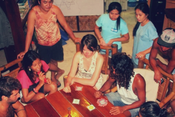 Fun and games with the people at Kermit Surf and Dive Resort.